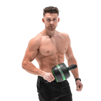 Man modeling the Redge Fit Rebound AB Roller Available at https://www.getredge.com/products/redge-fit-rebound-ab-roller