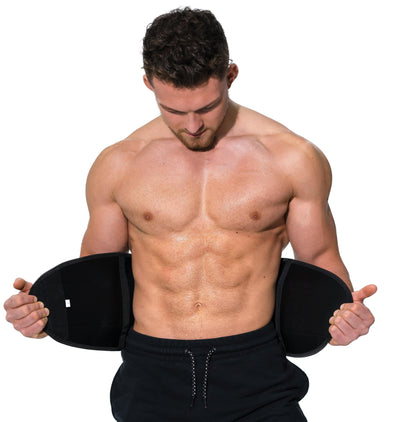 Man modeling the Redge Fit Core Focus Sweat Belt Available at https://www.getredge.com/products/core-focus-all-in-one-pack