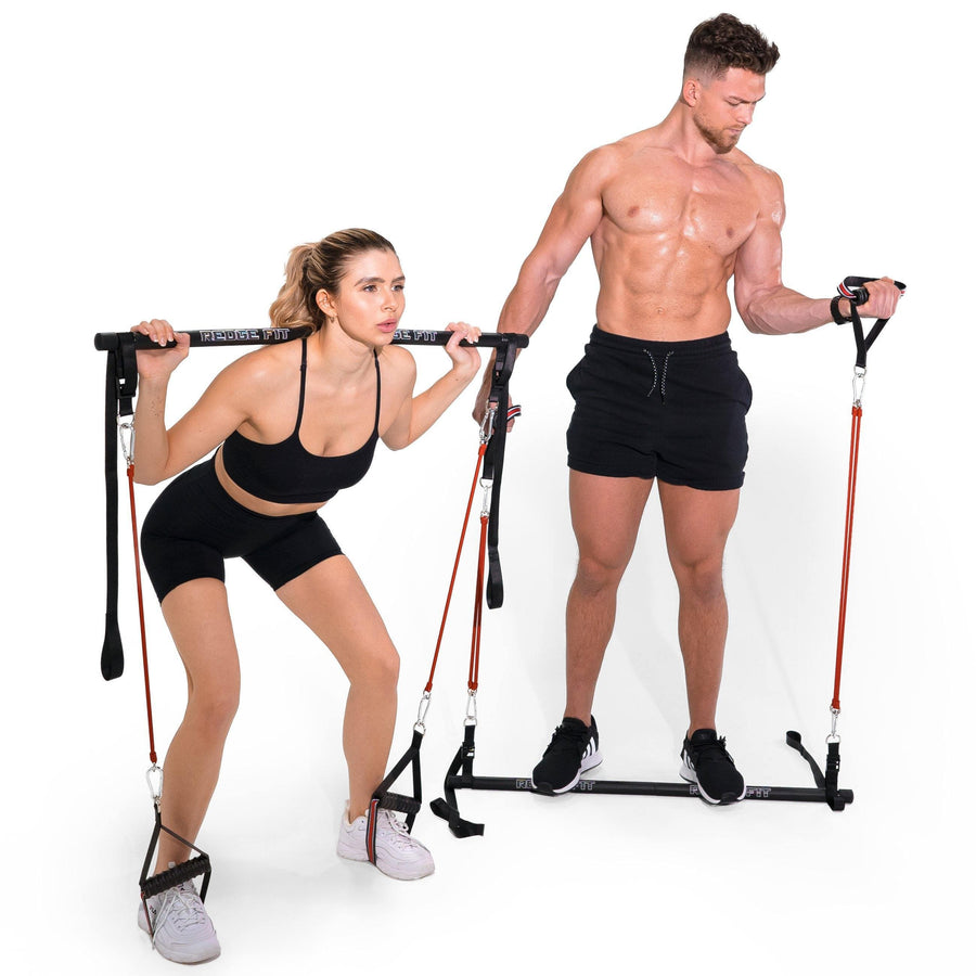 Man modeling the Redge Fit Portable Gym Machine Available at https://www.getredge.com/products/bar
