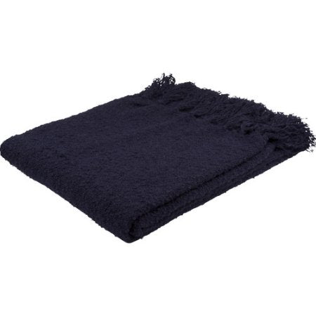 Navy Fringe Throw