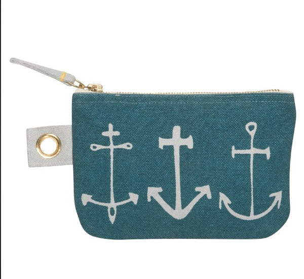 Green Anchor Zipper Pouch