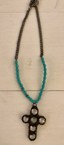Cross Necklace with Turquoise Beads with Hook & Eye Closure