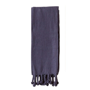 Cotton Throw w/ Pom Pom; Navy