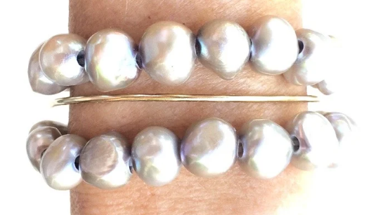 Pearl - Silver Stacking Bracelet