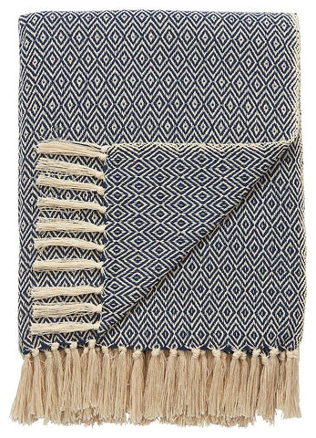 Navy Diamond Throw
