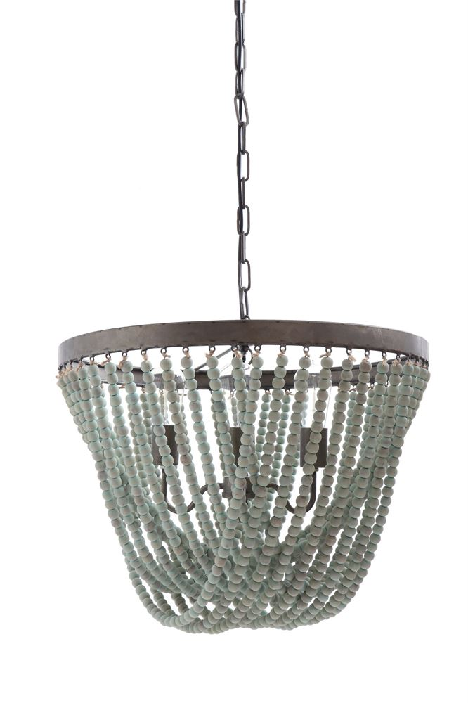 Metal Wood Aqua Chandelier