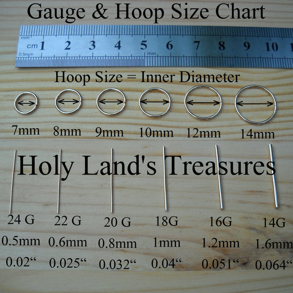 Gauge and hoop size chart