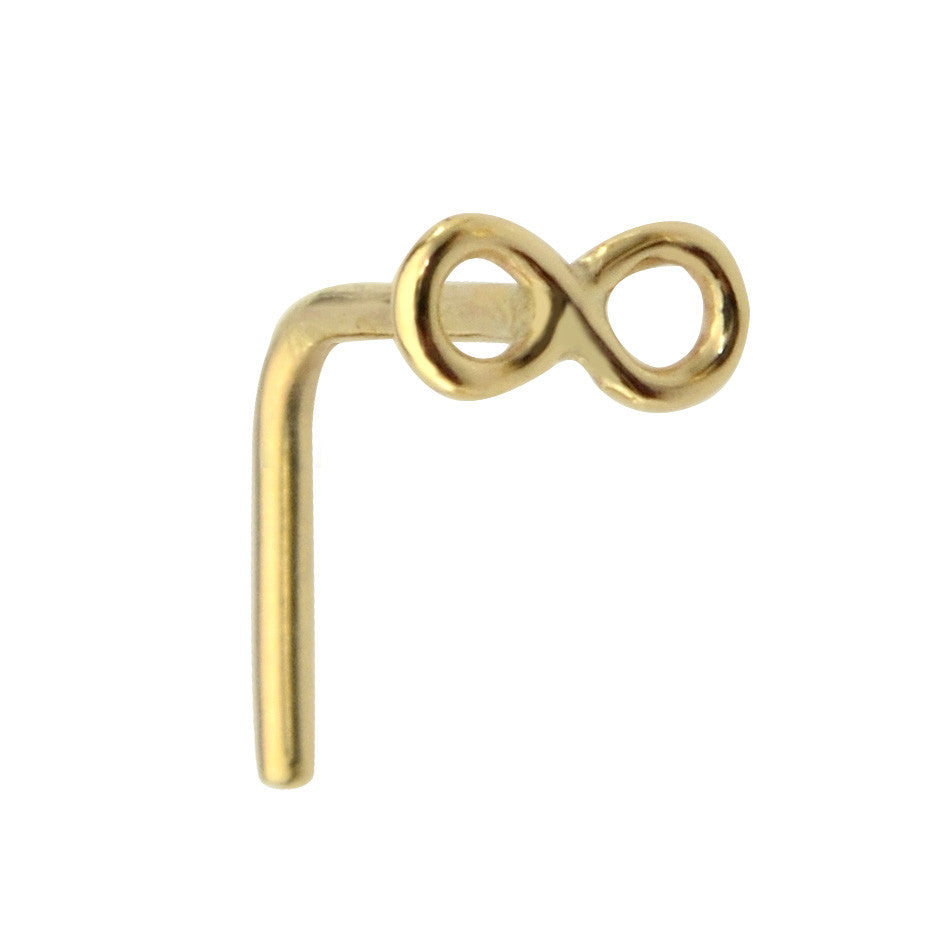 14K solid gold infinity nose ring stud.