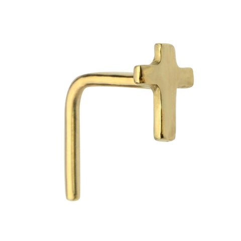 14K solid gold cross nose ring stud.
