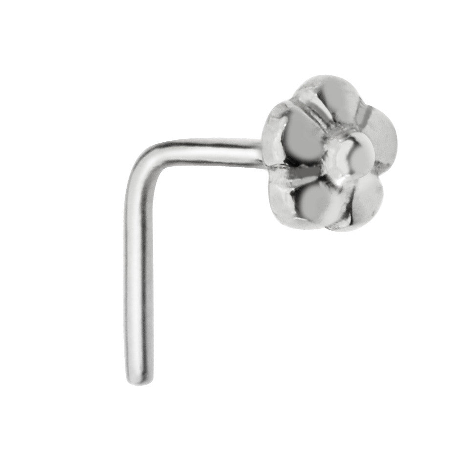 Sterling silver flower nose ring stud.