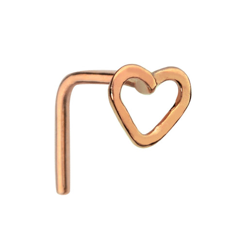 Nose Ring / Nose Stud - 14K Yellow/Rose Gold Filled - Open Valentine Heart