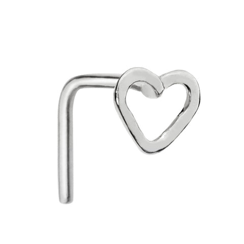 Sterling silver open valentine heart nose ring stud.