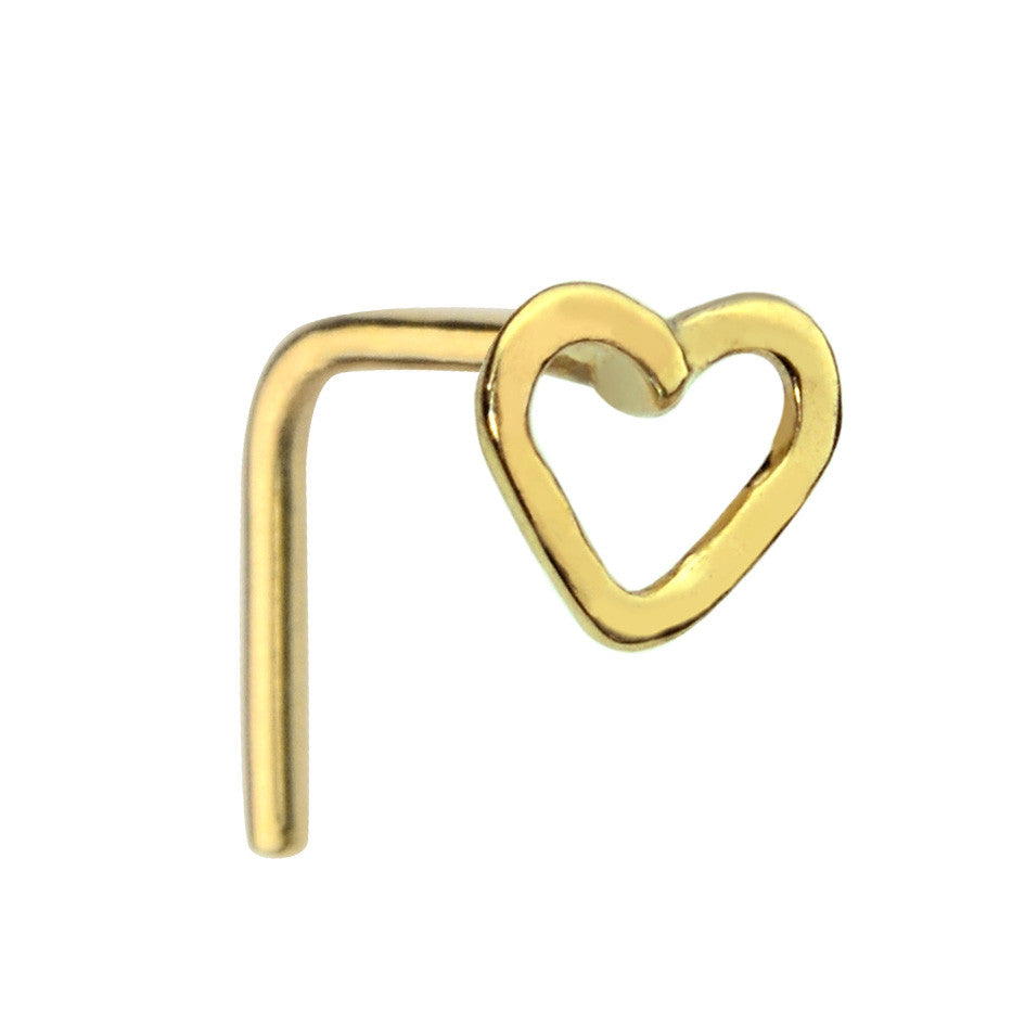 14K solid gold open valentine heart nose ring stud.