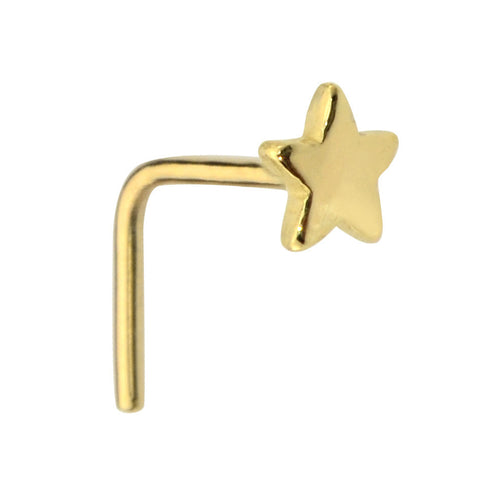 14K solid gold star nose ring stud.