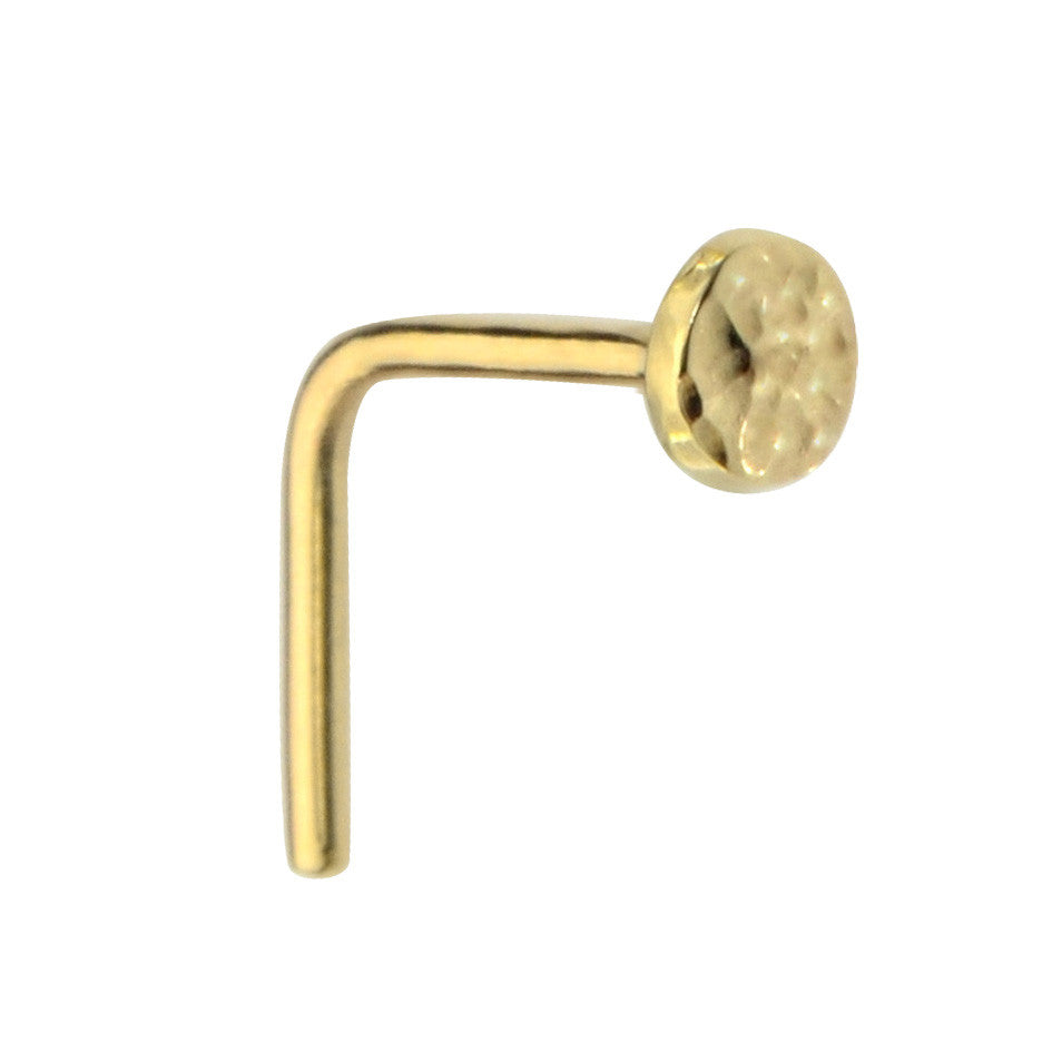 14K gold filled 3mm hammered disk nose ring stud.