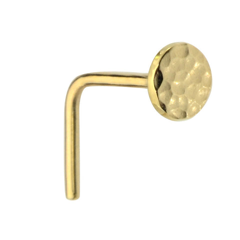14K solid gold 4mm disk nose ring stud.