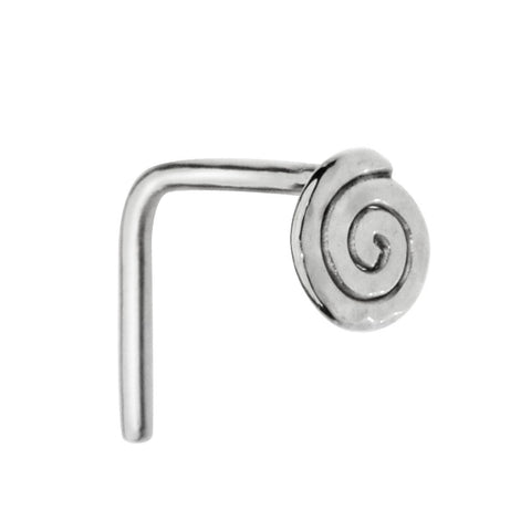 Sterling silver spiral nose ring stud.