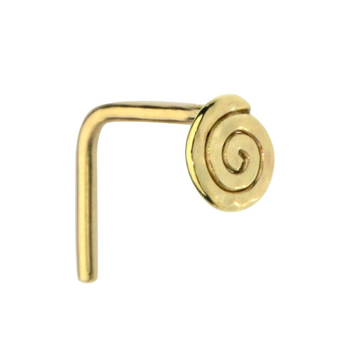 14K solid gold spiral nose ring stud.