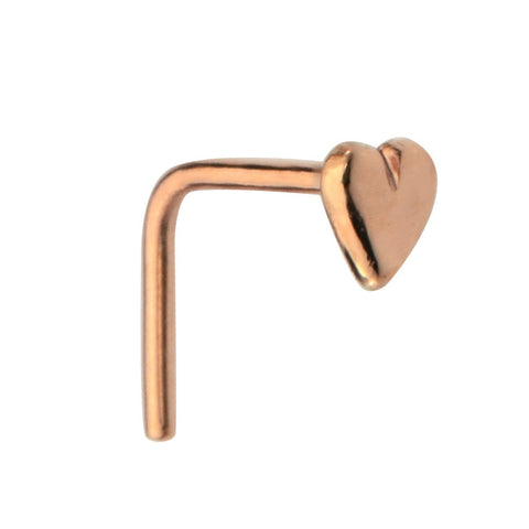 Nose Ring / Nose Stud - 14K solid Yellow/Rose/White Gold - Solid Valentine Heart