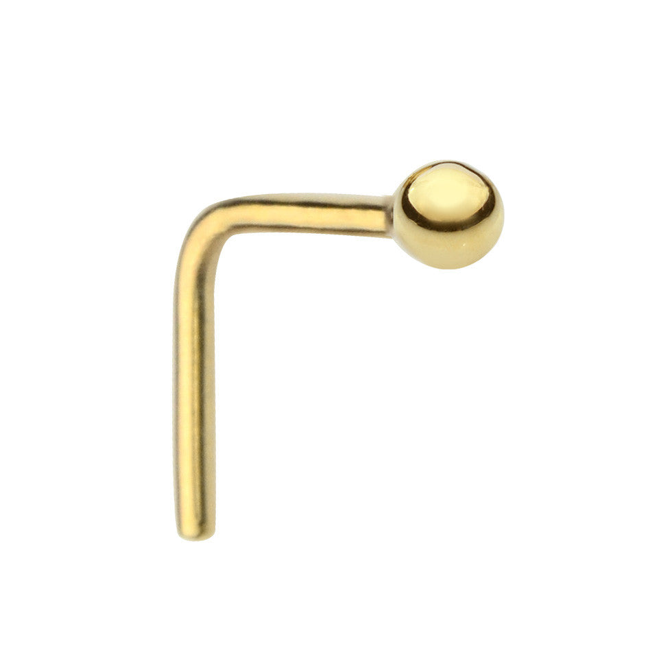 14K solid gold ball nose ring stud.