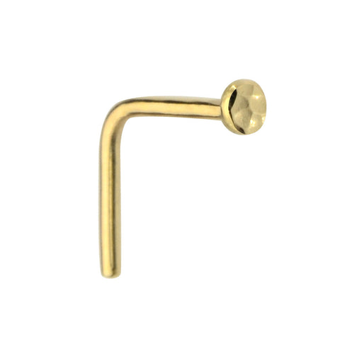 14K solid gold 2mm disk nose ring stud.