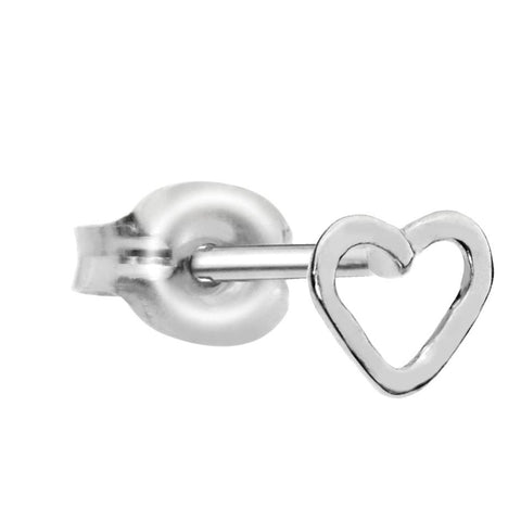 Sterling silver open valentine heart tragus/cartilage stud earring.