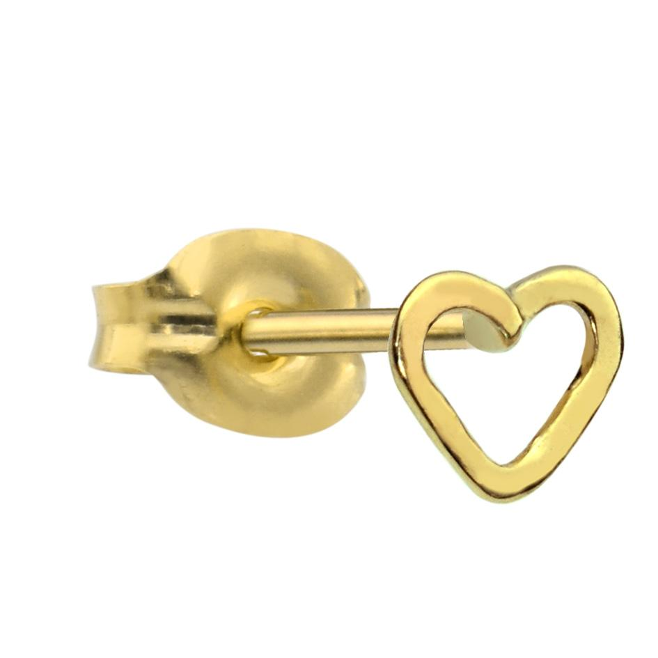 14K solid yellow/rose/white gold open valentine heart tragus/cartilage stud earring.