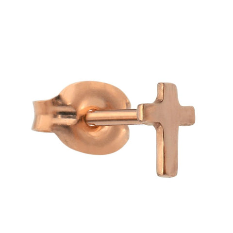 Tragus Earring / Cartilage Earring - 14K Solid Yellow/Rose/White Gold - Open Cross
