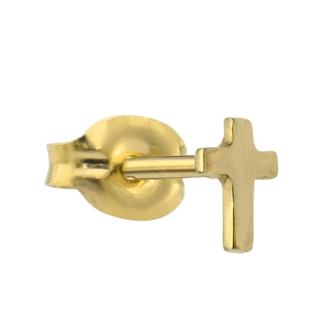 14K solid yellow/rose/white gold cross tragus/cartilage stud earring.