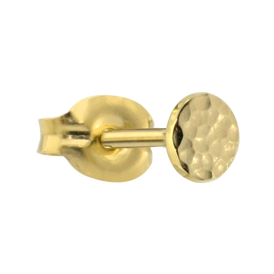 14K yellow/rose gold filled 4mm hammered disk tragus/cartilage stud earring.