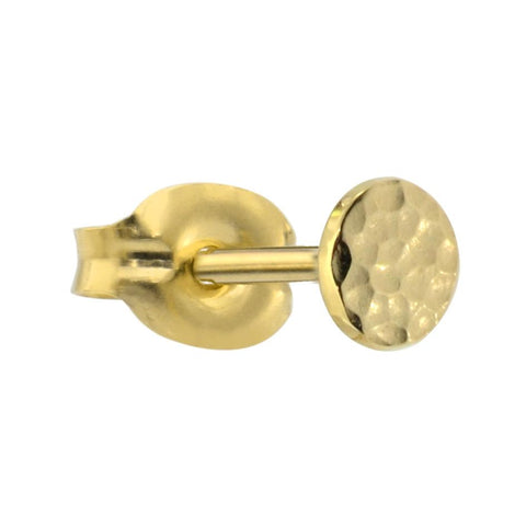 14K solid yellow/rose/white gold 4mm hammered disk tragus/cartilage stud earring.