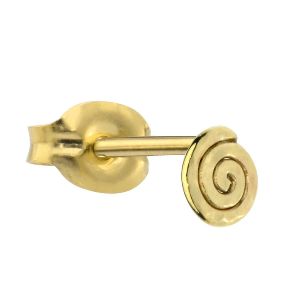14K solid yellow/rose/white gold spiral tragus/cartilage stud earring.