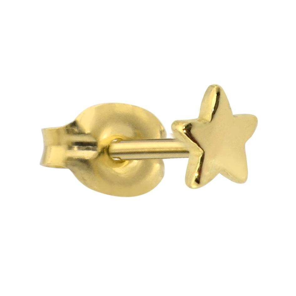 14K solid yellow/rose/white gold star tragus/cartilage stud earring.