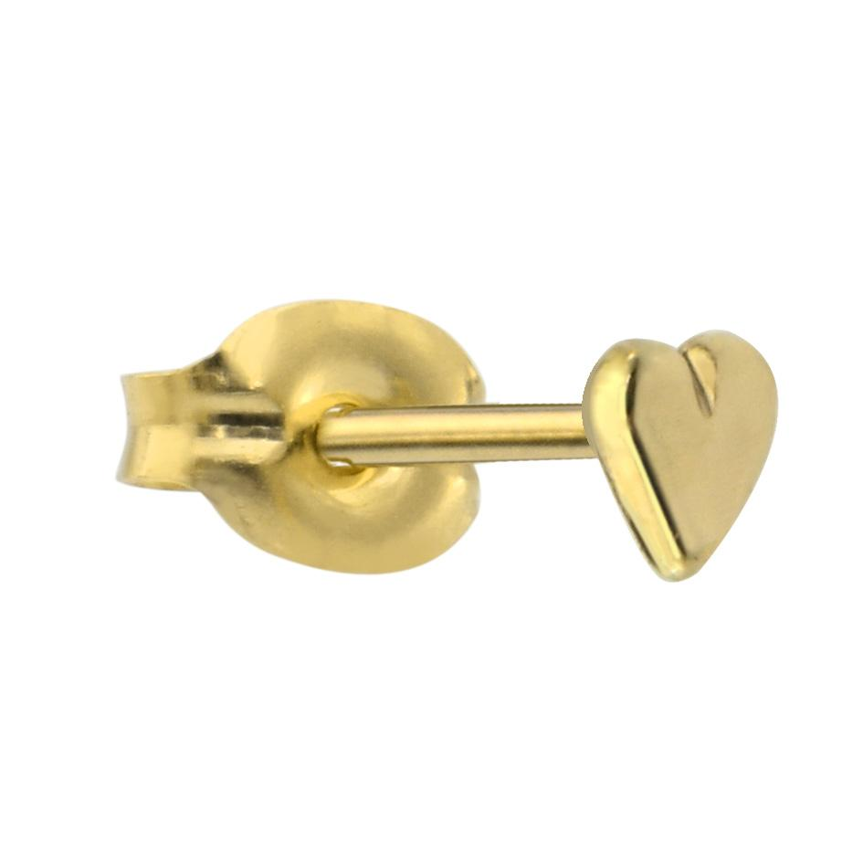 14K solid yellow/rose/white gold solid valentine heart tragus/cartilage stud earring.