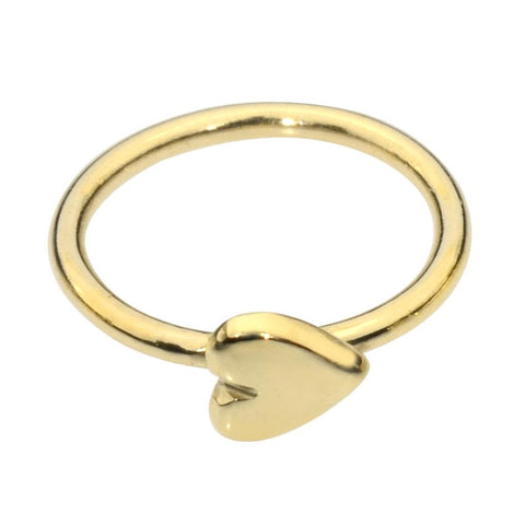 14K solid yellow/rose/white gold solid heart nose ring/tragus earring hoop.