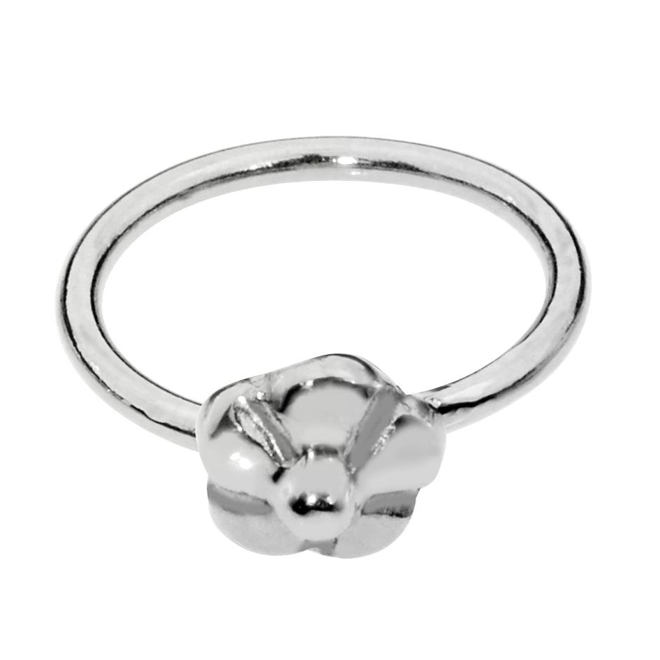 Sterling silver flower nose ring/tragus earring hoop.