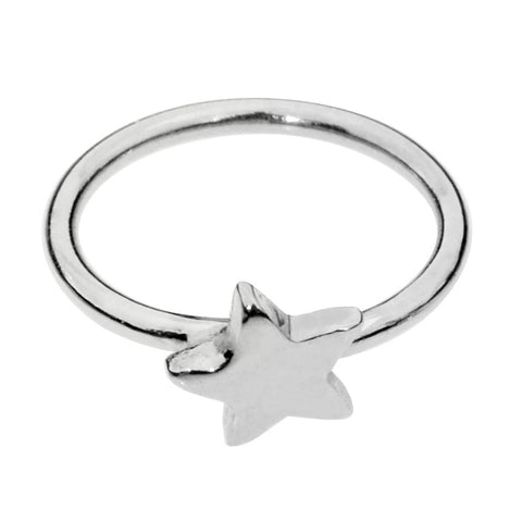 Sterling silver star nose ring/tragus earring hoop.