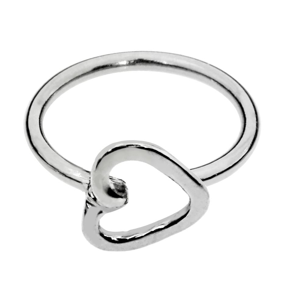 Sterling silver heart nose ring/tragus earring hoop.