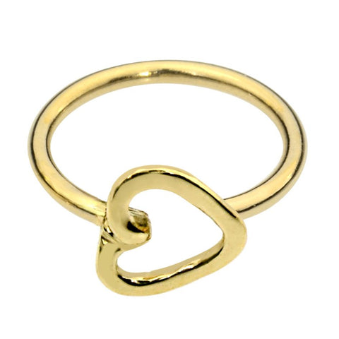 14K solid yellow/rose/white gold open heart nose ring/tragus earring hoop.
