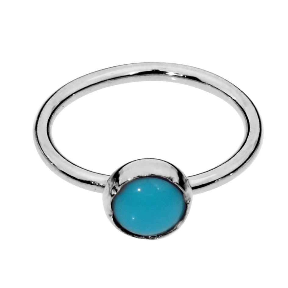 Sterling silver nose ring/tragus earring hoop set with a 3mm Turquoise.