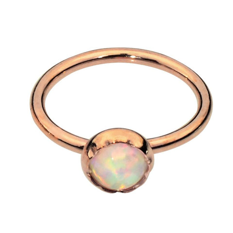 Nose Ring / Tragus Earring - 14K Solid Yellow/Rose/White Gold - 3mm White Opal