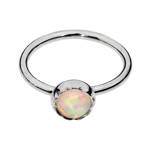Sterling silver Belly Button Ring / Belly Button Piercing with a 3mm White Opal