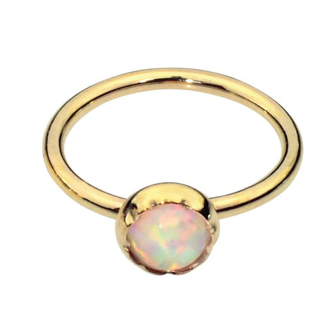 14K solid yellow/rose/white gold nose ring/tragus earring hoop set with a 3mm White Opal.