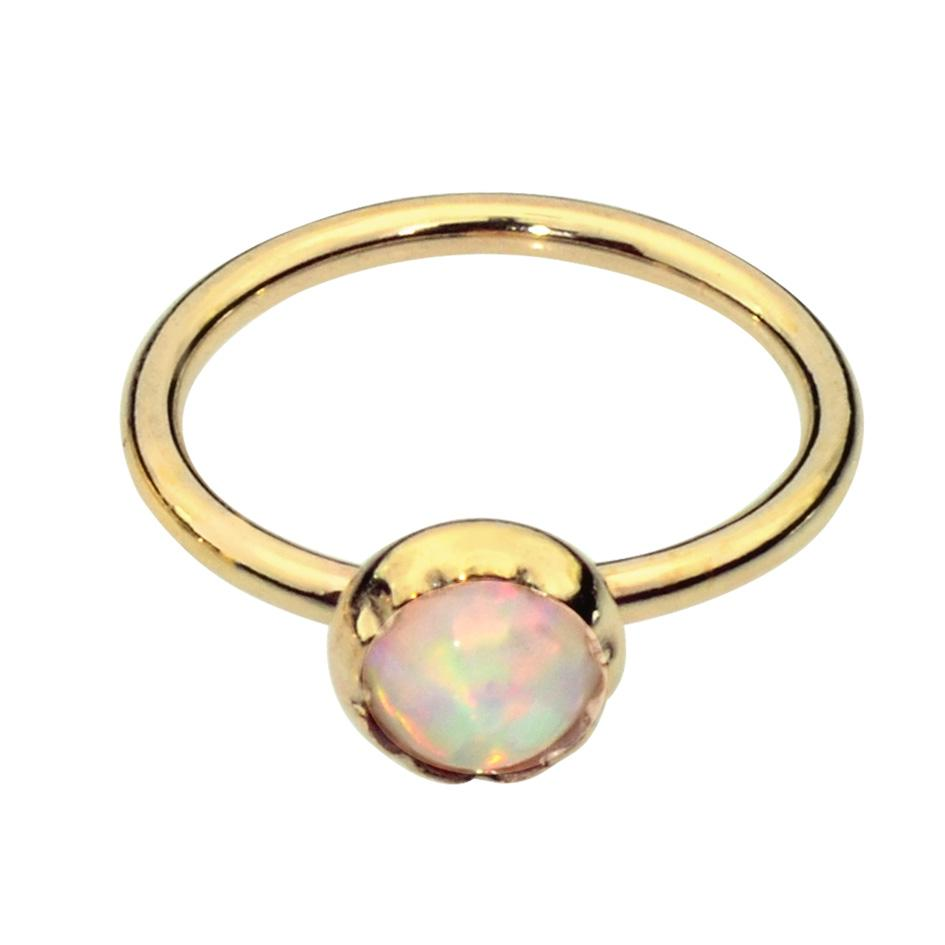 14K Solid Yellow/Rose/White Gold Belly Button Ring / Belly Button Piercing with a 3mm White Opal