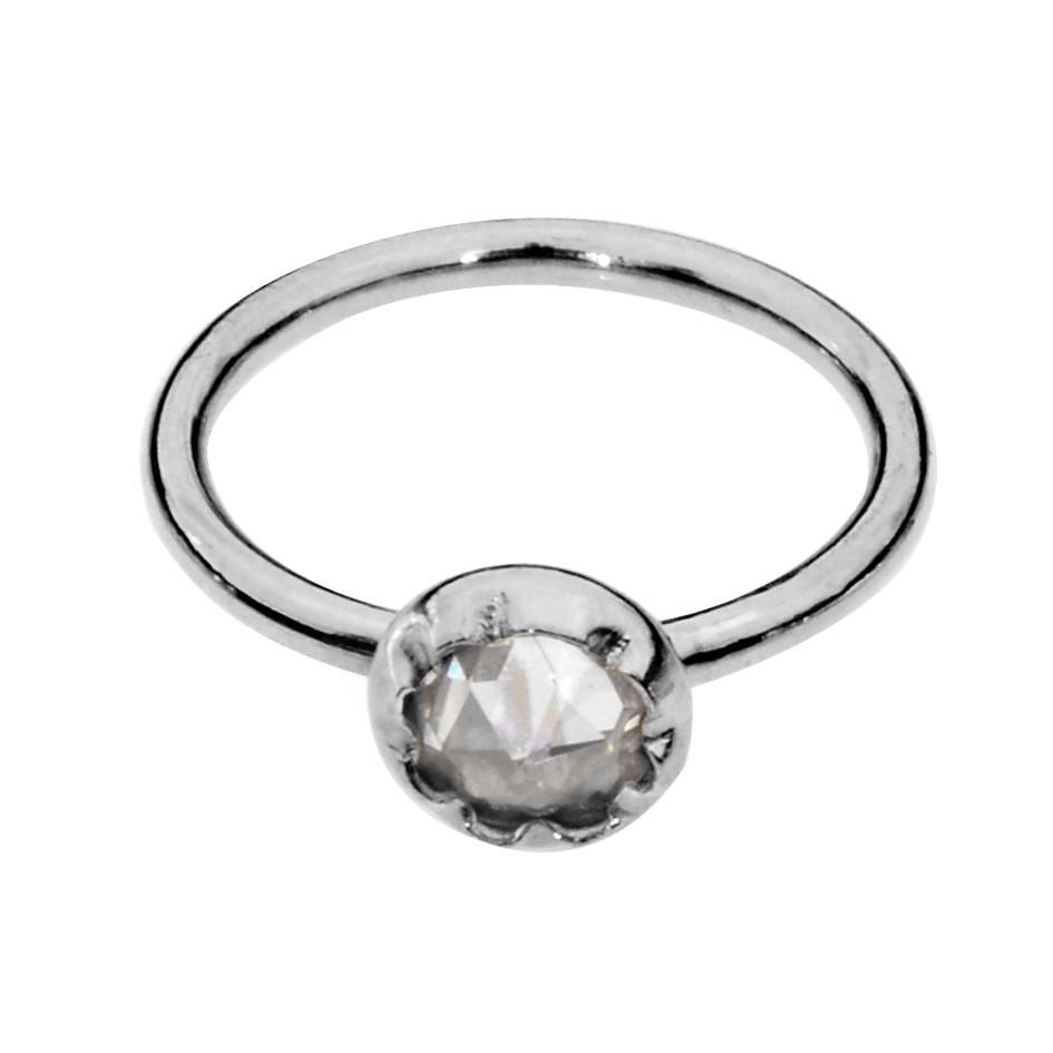 Sterling silver nose ring/tragus earring hoop set with a 3mm Cubic Zirconia.