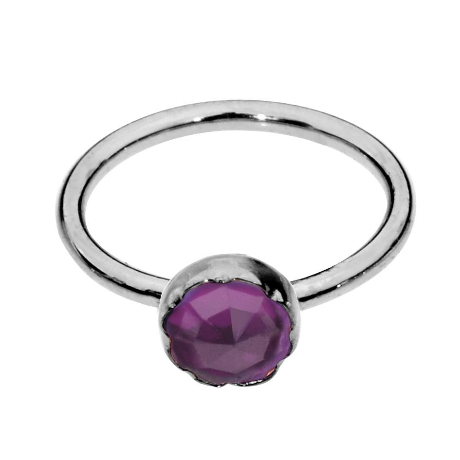 Sterling silver nose ring/tragus earring hoop set with a 3mm Amethyst.