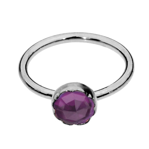 Nose Ring / Tragus Earring - 14K Solid Yellow/Rose/White Gold - 3mm Amethyst