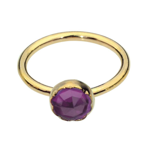 14K Solid Yellow/Rose/White Gold Belly Button Ring / Belly Button Piercing with a 3mm Amethyst