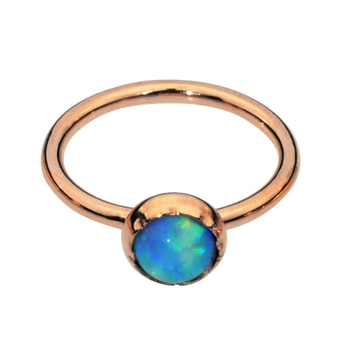 Belly Button Ring / Belly Piercing 14K Solid Gold - 3mm Blue Opal