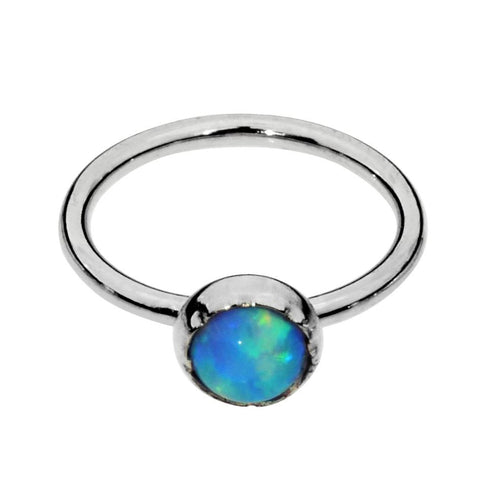 Sterling silver Belly Button Ring / Belly Button Piercing with a 3mm Blue Opal